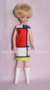 Handmade by Cazjar Pedigree Sindy Fashion - Colour Block dress  (no boots)