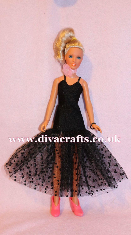 Handmade by Cazjar Kenner Darci Doll Fashion - Black Net Gown