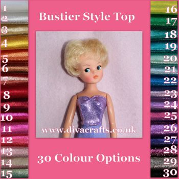 Handmade by Cazjar Pedigree Sindy Fashion - Bustier Top Only - Colour Choice Sparkle Lycra