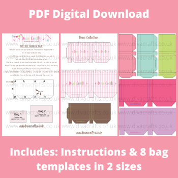 PDF Digital Download Printable Mini Doll Size Shopping Bags - Diva Collection