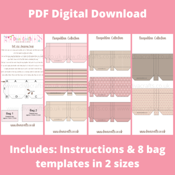 PDF Digital Download Printable Mini Doll Size Shopping Bags - Neapolitan Collection