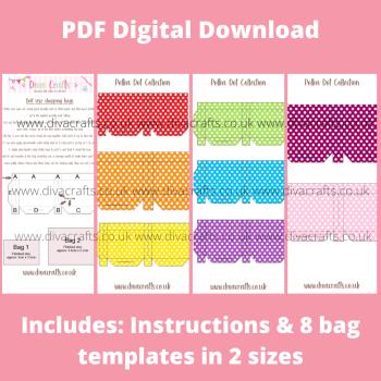PDF Digital Download Printable Mini Doll Size Shopping Bags - Polka Dot Collection