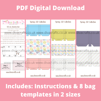 PDF Digital Download Printable Mini Doll Size Shopping Bags - Spring 2021 Collection