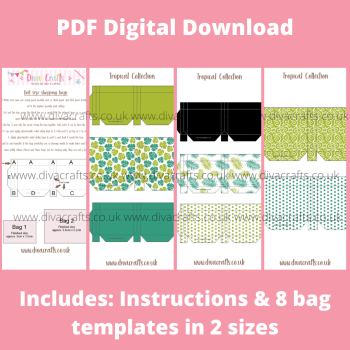 PDF Digital Download Printable Mini Doll Size Shopping Bags - Tropical Collection