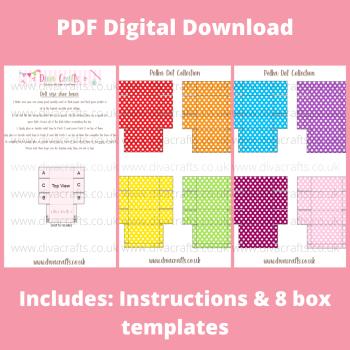 PDF Digital Download Printable Mini Doll Size Shoe Boxes - Polka Dot Collection