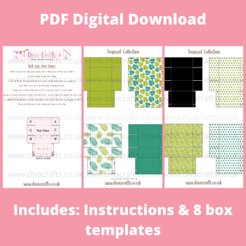 PDF Digital Download Printable Mini Doll Size Shoe Boxes - Tropical Collection