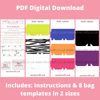 PDF Digital Download Printable Mini Doll Size Shopping Bags - Misfits Collection