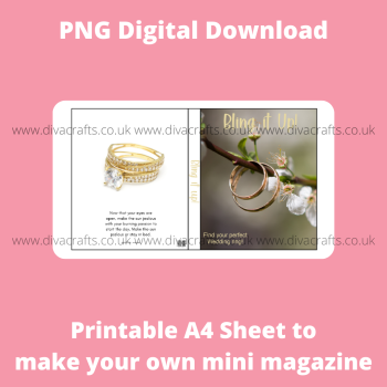 PNG Digital Download Printable Mini Doll Size Magazine - Bling it Up Jewellery Theme #1