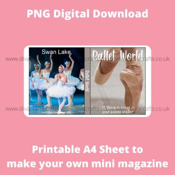 PNG Digital Download Printable Mini Doll Size Magazine - Ballet Theme #1
