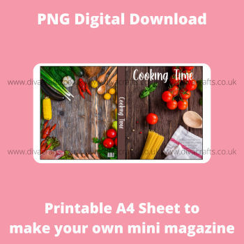 PNG Digital Download Printable Mini Doll Size Magazine - Cooking Theme #1