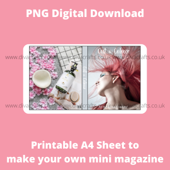 PNG Digital Download Printable Mini Doll Size Magazine - Cut & Colour Hair Styling Theme #1