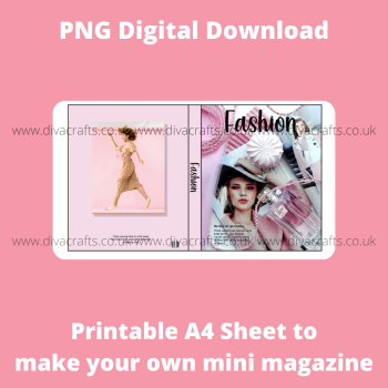 PNG Digital Download Printable Mini Doll Size Magazine - Fashion Theme #1