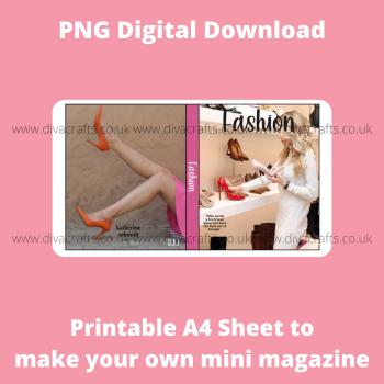 PNG Digital Download Printable Mini Doll Size Magazine - Fashion Theme #2