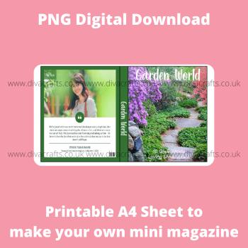 PNG Digital Download Printable Mini Doll Size Magazine - Gardening Theme #1