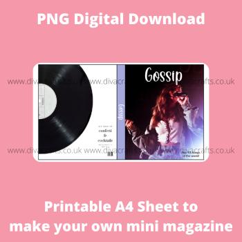 PNG Digital Download Printable Mini Doll Size Magazine - Gossip Theme #1