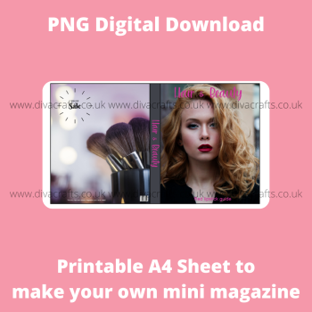 PNG Digital Download Printable Mini Doll Size Magazine - Hair and Beauty Theme #1