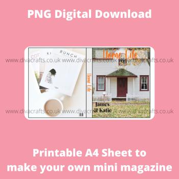 PNG Digital Download Printable Mini Doll Size Magazine - Home Life Theme #1