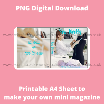 PNG Digital Download Printable Mini Doll Size Magazine - Sewing Theme #1