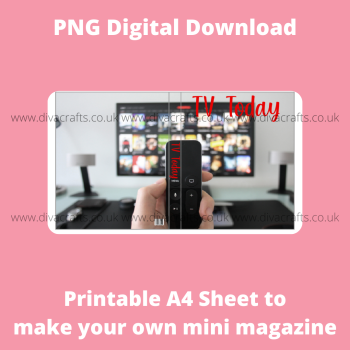 PNG Digital Download Printable Mini Doll Size Magazine - TV Listings Theme #1