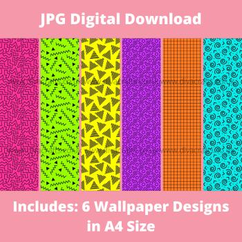 JPG Digital Download Printable Mini Doll Size Wallpaper - Neon 80's Mix
