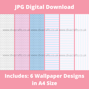 JPG Digital Download Printable Mini Doll Size Wallpaper - White Pink and Blue Mix