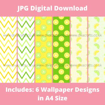 JPG Digital Download Printable Mini Doll Size Wallpaper - Lemon and Lime Mix