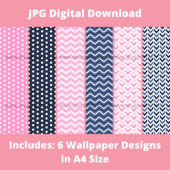JPG Digital Download Printable Mini Doll Size Wallpaper - Pink and Navy Mix