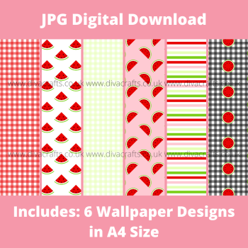 JPG Digital Download Printable Mini Doll Size Wallpaper - Watermelon Mix