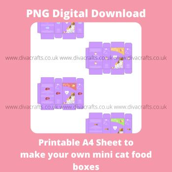 PNG Digital Download Printable Mini Pet Food Boxes - 4 x Cat Food