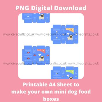 PNG Digital Download Printable Mini Pet Food Boxes - 4 x Dog Food