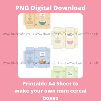 PNG Digital Download Printable Mini Groceries - 4 x Cereal Boxes