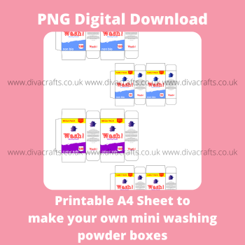 PNG Digital Download Printable Mini Groceries - 4 x Washing Powder Boxes