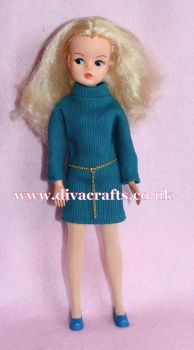 Handmade by Cazjar Pedigree Sindy Fashion - Reproduction Inspired Coffee Party Teal