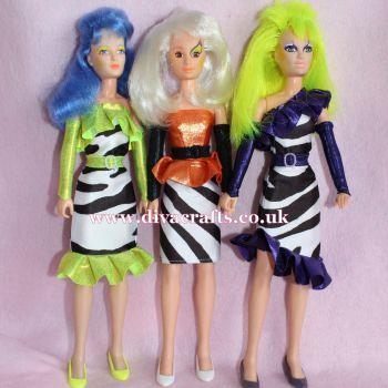 Handmade by Cazjar JEM Fashion Hasbro - Set of 3 Zebra Outfits