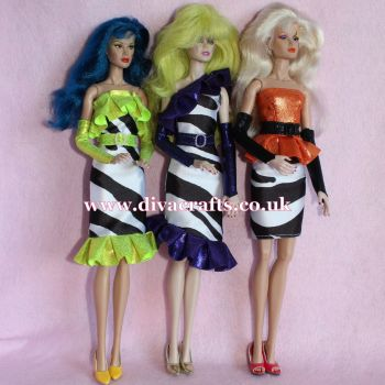 Handmade by Cazjar JEM Fashion Integrity - Set of 3 Zebra Outfits