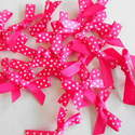 5 x Satin Polka Dot Bows Hot Pink
