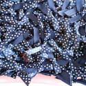 5 x Satin Polka Dot Bows Navy