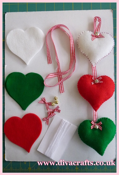 diva crafts hanging felt hearts free project
