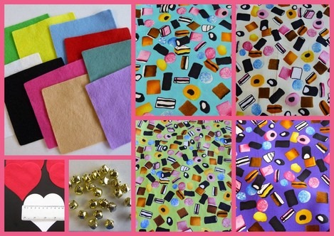 red felt hearts bells liquorice allsorts fabric diva crafts