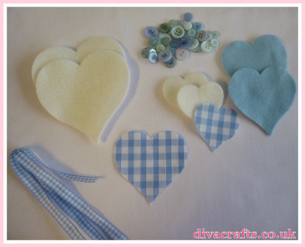 blue pink hanging hearts free tutorial diva crafts