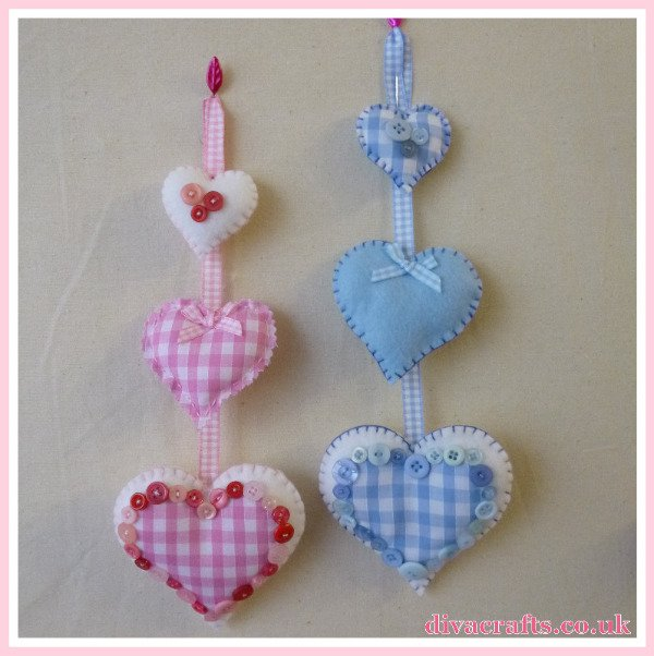 blue pink hanging hearts free tutorial diva crafts (3)