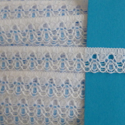 Lace 15mm Wide - White with Blue