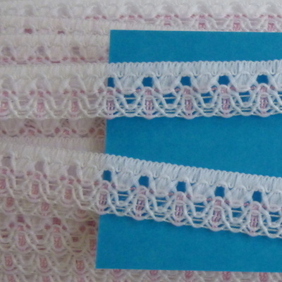 Lace 15mm Wide - White with Pink