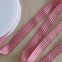 Gingham Ribbon 10mm Wide - Red