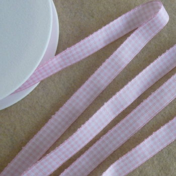 Gingham Ribbon 10mm Wide - Baby Pink