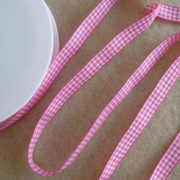 Gingham Ribbon 10mm Wide - Hot Pink