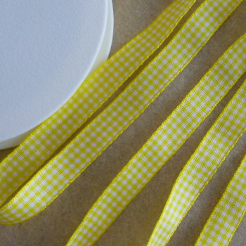 Gingham Ribbon 10mm Wide - Yellow