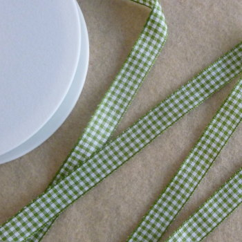 Gingham Ribbon 10mm Wide - Sage Green