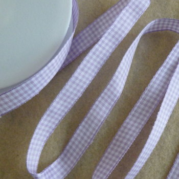Gingham Ribbon 10mm Wide - Lilac