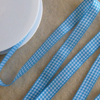 Gingham Ribbon 10mm Wide - Blue